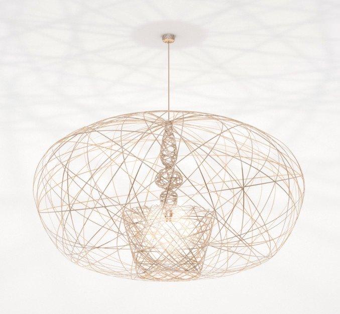 Lichtornament plafondverlichting cetus large goud, carbon decoratie