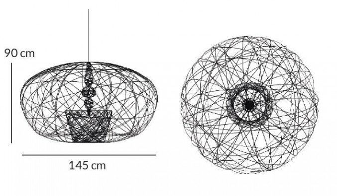 Lichtornament plafondverlichting cetus large afmetingen, carbon decoratie