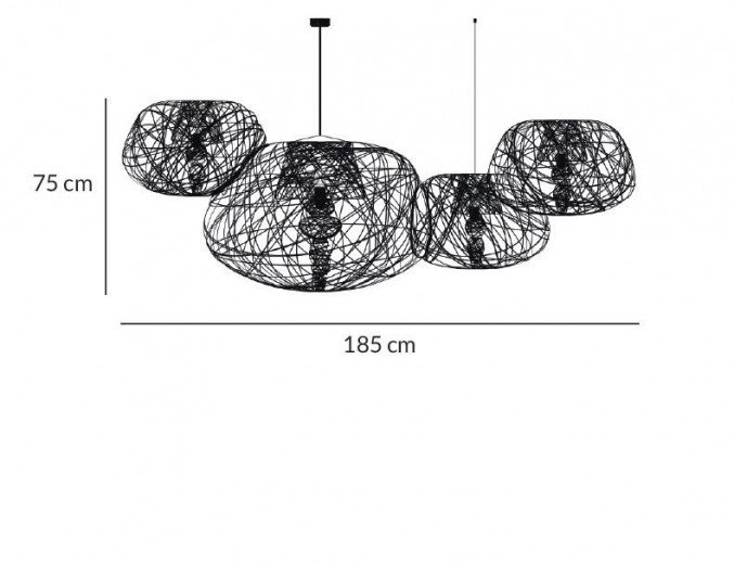 Lightornament ceiling lighting combination 3 side view measurements, carbon decoration