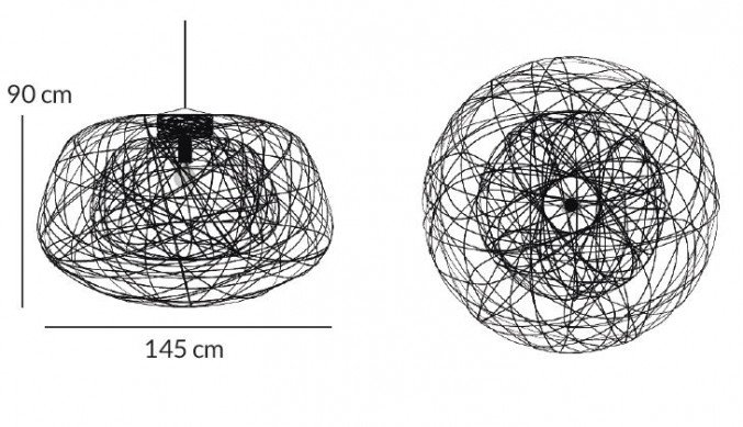 Lichtornament plafondverlichting indus zwart large afmetingen, carbon decoratie