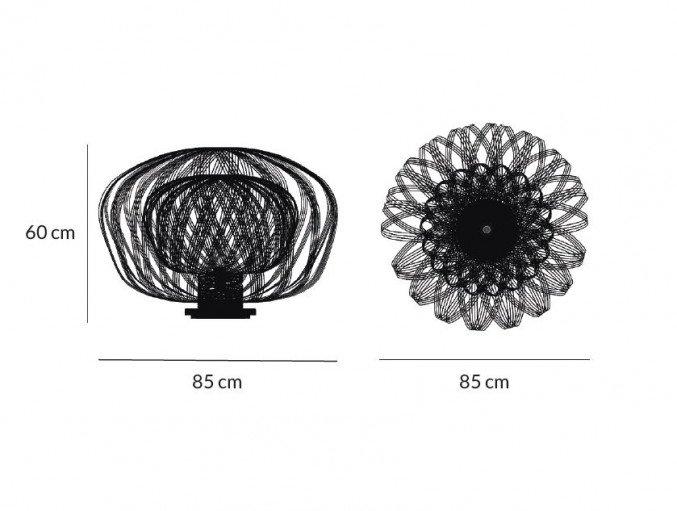 lichtornament vrijstaande lamp crux zwart, carbon decoratie