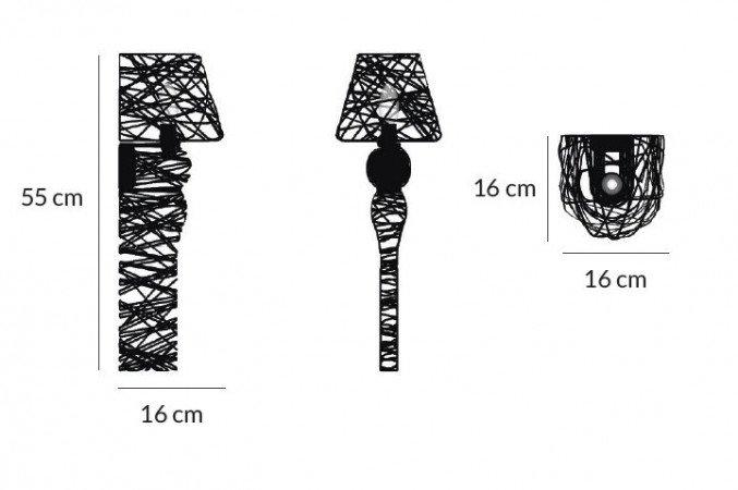 lightornament wall lighting lyra black overview medium measurements, carbon decoration