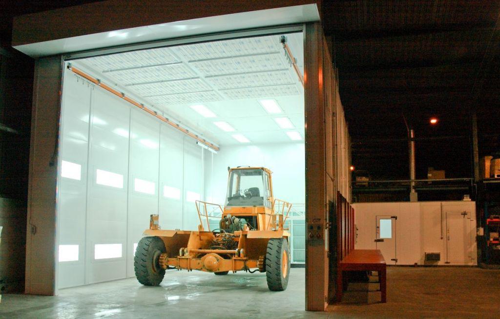 Haute cabine pour la mise en peinture des poids lourds en ventilation horizontale