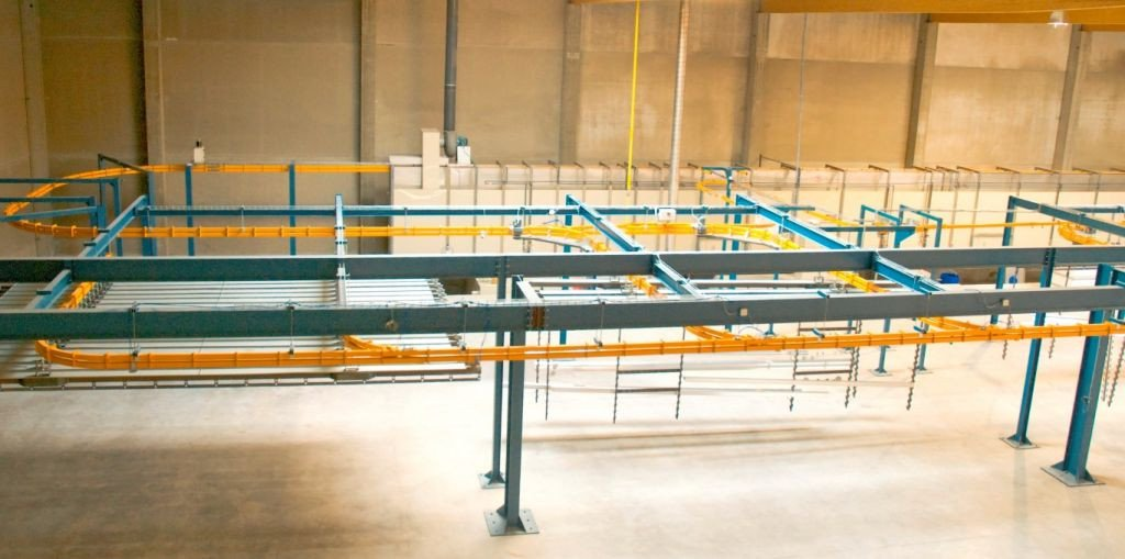 Loading and unloading zone in Power & Free conveyor