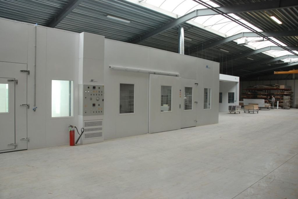 Paint oven in a big workshop with spray booth and sanding booth