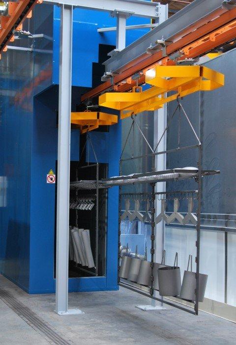 Manuele draagbalk vooruit getrokken door een aan naastliggende transfert ketting doorheen een continu oven