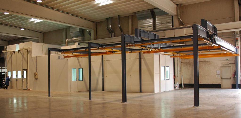 Inrichting spuiterij: onderdrukcabine; spuit-droogcabine; droogkamer met monorail