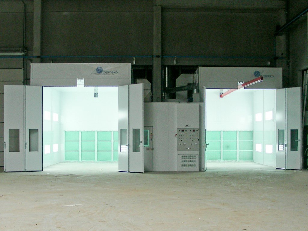 Two paintbooths, prepared for a potential manual conveyor