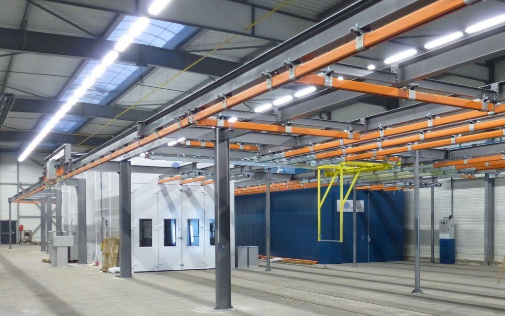 Multi-processlijn: straalcabine, spuitcabine en droogoven op rail met verdeelbrug