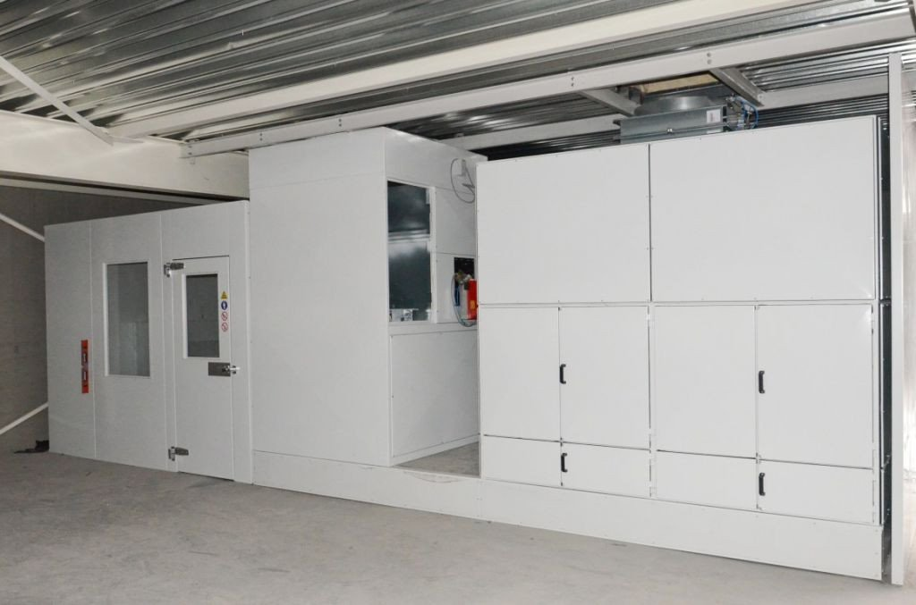 Paintbooth on the first floor with active carbon filtration system