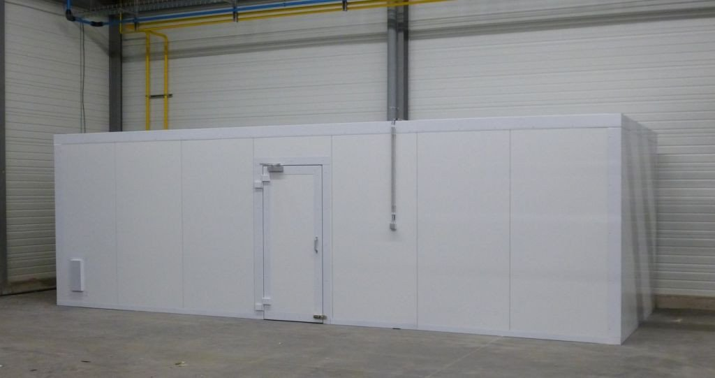 Paint supply is stored in a separate enclosed room