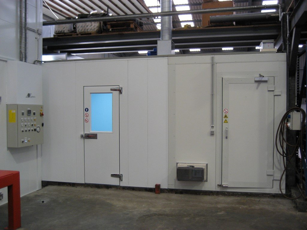 Paint mixing booth and storage booth in a paint-shop