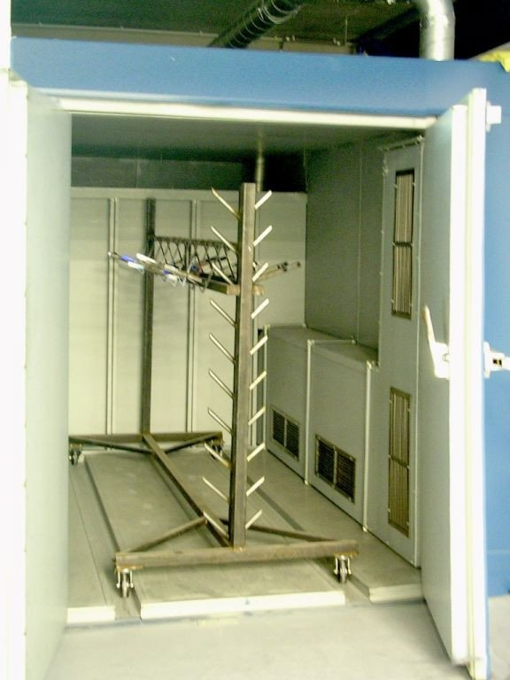 Batch oven for curing, drying or baking in small batches, using wheeled racks