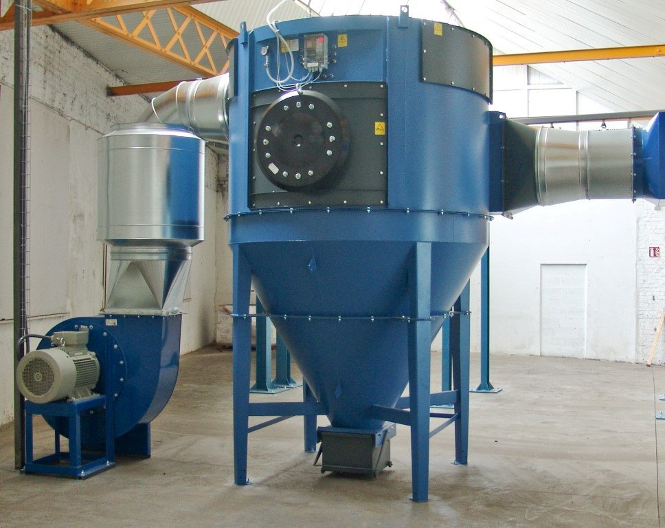 Dust filter for powder application inside the building