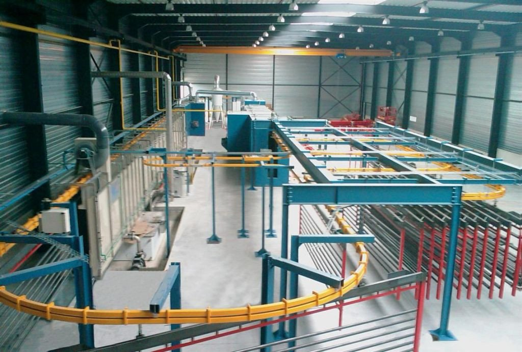 Powder coating line that consist of pretreatment tunnel, dry off oven, powder coating booth, polymerisation oven and P&F conveyor