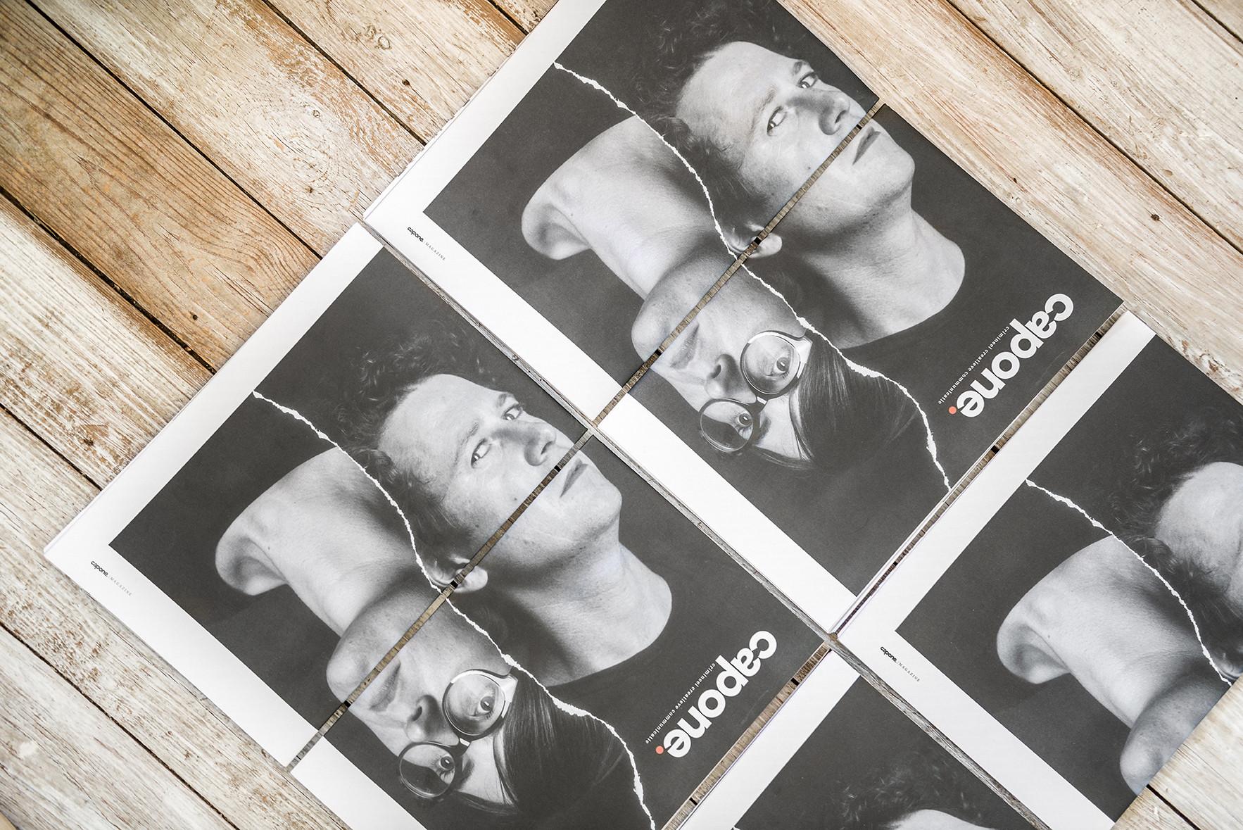 Enkele Capone-magazines. Ook zin om een bedrijfsmagazine te maken? Shoot@capone.be!