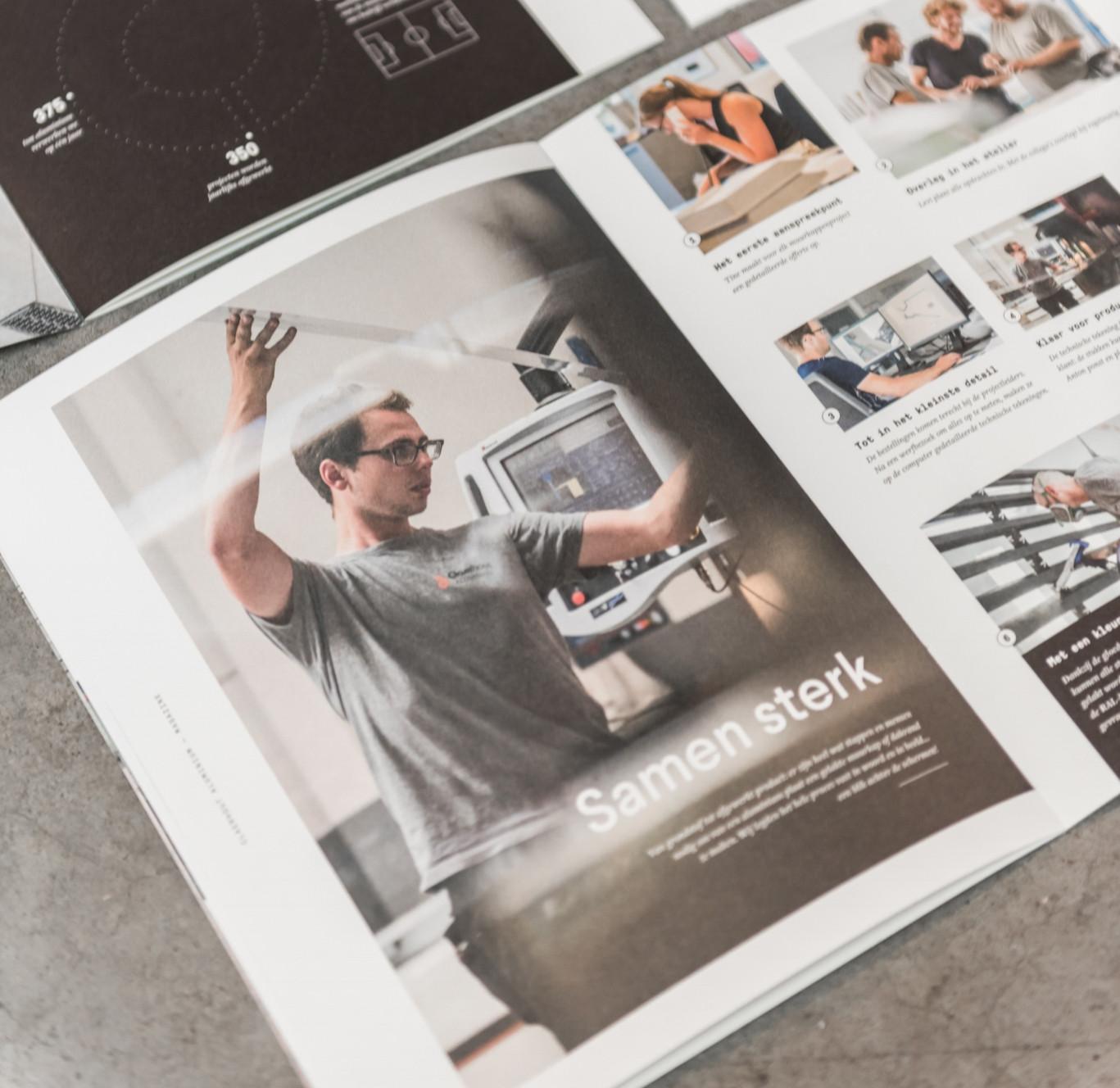 Voor Claerhout Aluminium maakten we een bedrijfsblad op maat: van copywriting tot de begeleiding van de fotografie en het grafisch ontwerp.