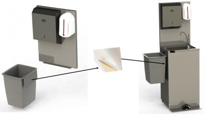 Zelfsteunende/ inox achterwand die bevestigd wordt op de autonome handwasbak, waar er een...