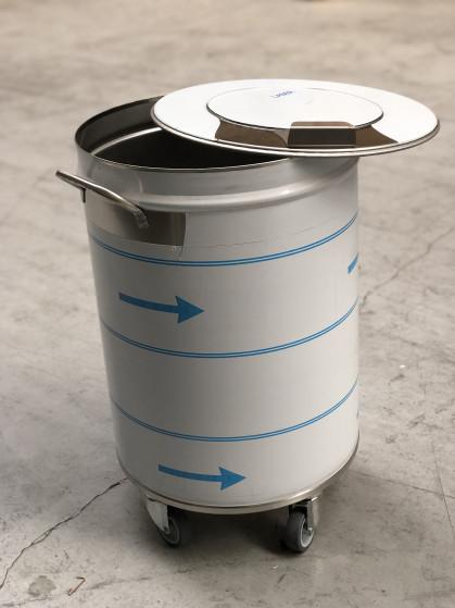 Inox AISI304. Ø400mm - 610mm hoogte - 50 liters - 11kg