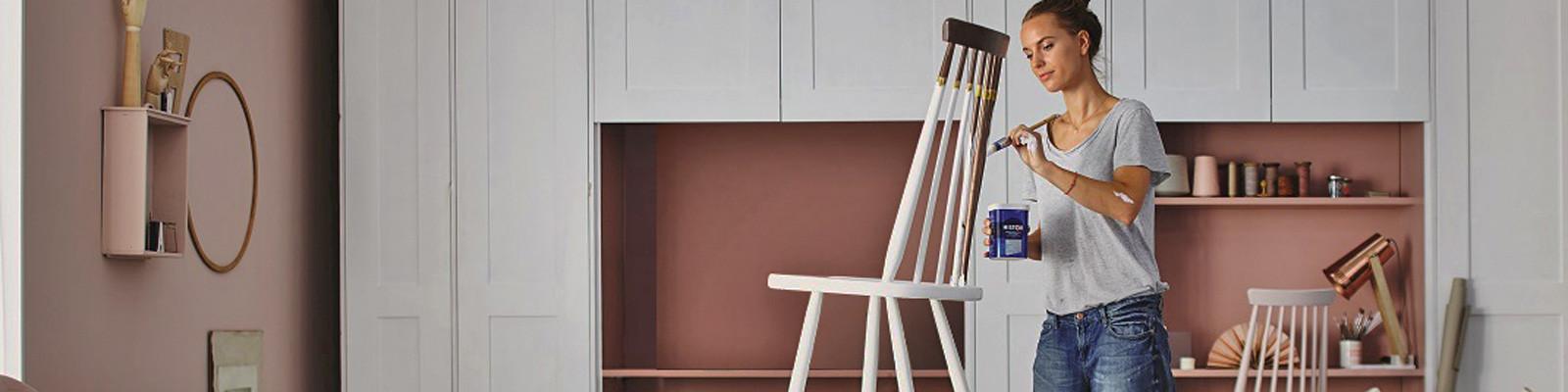 Sigma verf deuren kasten stoelen wit oud-roze