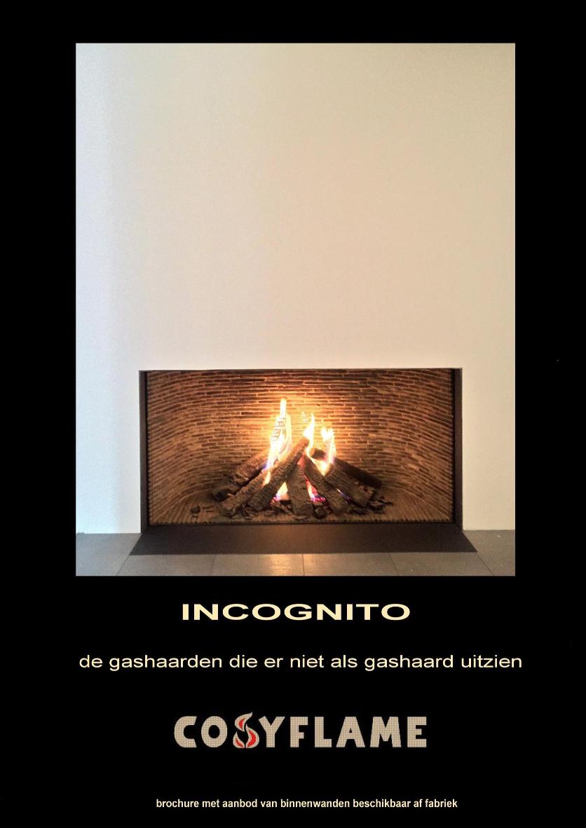 Cosyflame Incognito gashaard brochure van verschillende binnenwanden