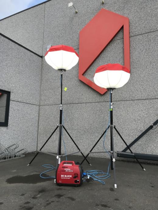 Lichtballon LED 2 stuks op groepje van 2KVA