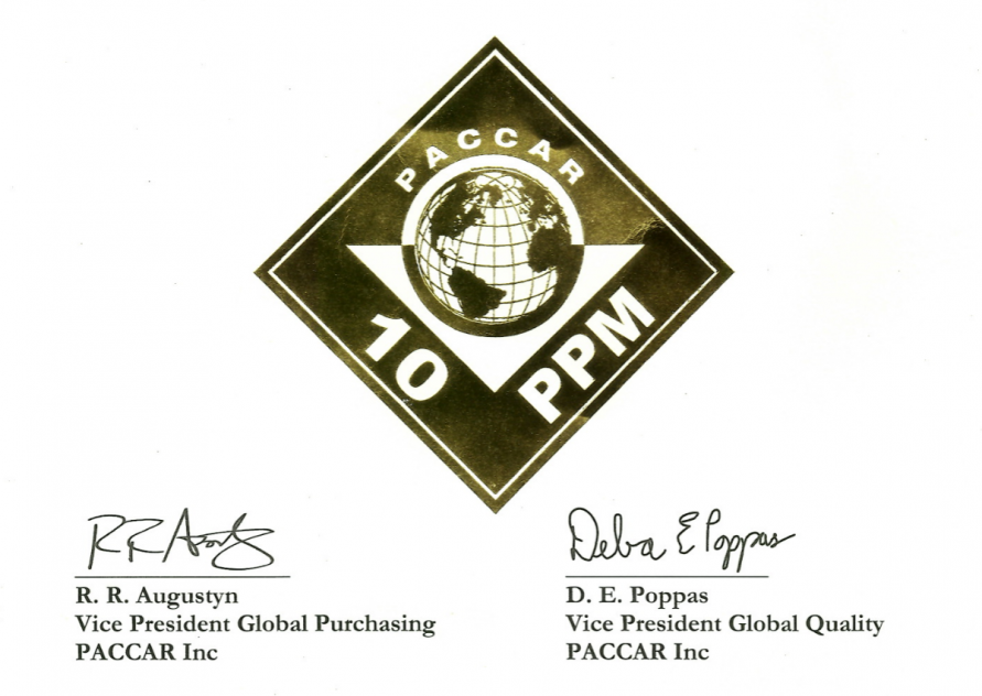 PACCAR quality cert2019