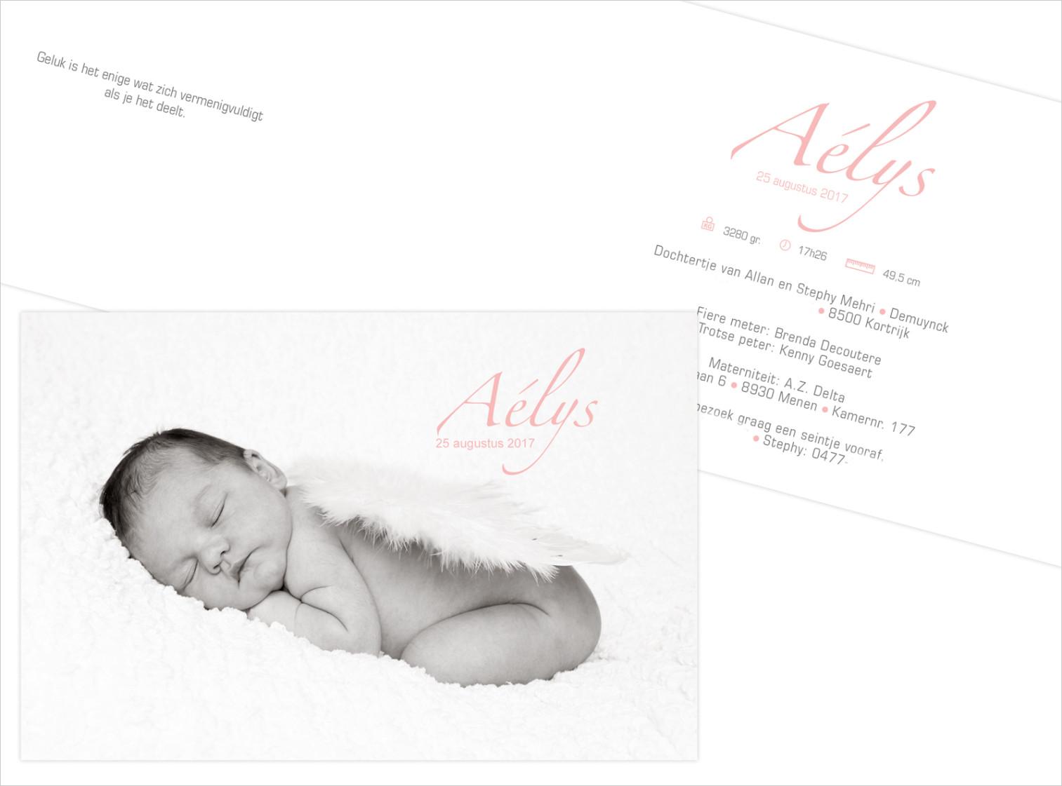 Geboortekaartje met foto van Aélys