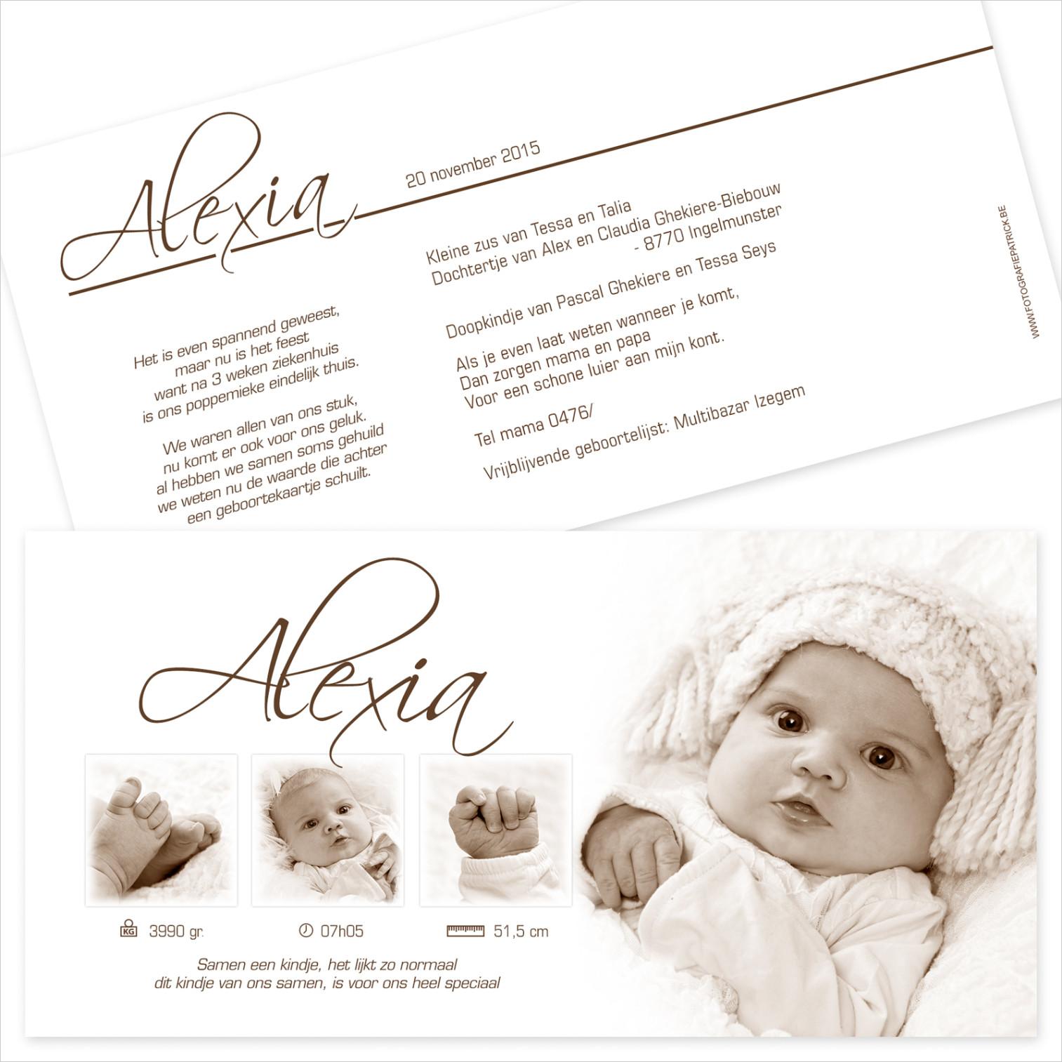 Geboortekaartje met foto van Alexia