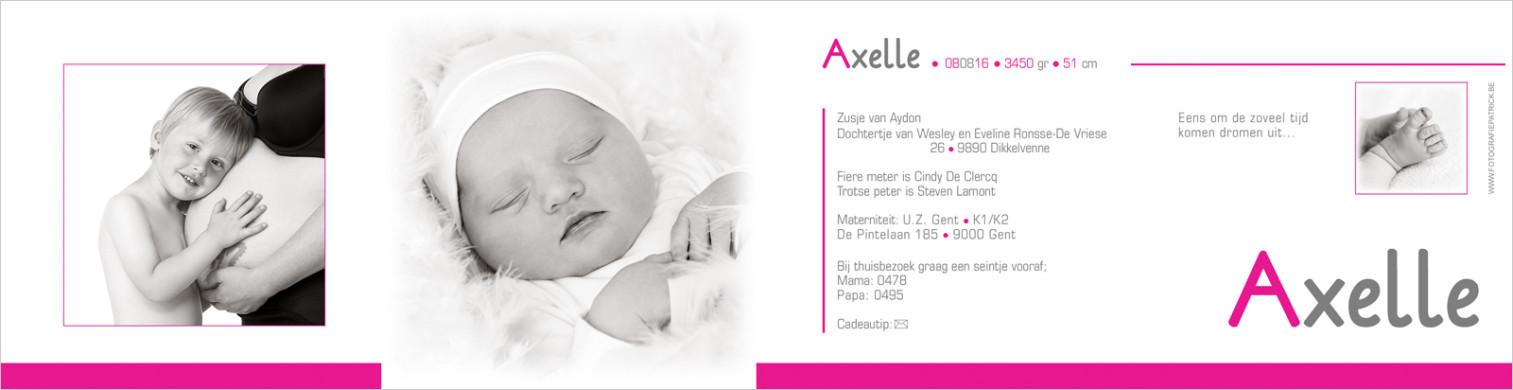 Geboortekaartje met foto van Axelle