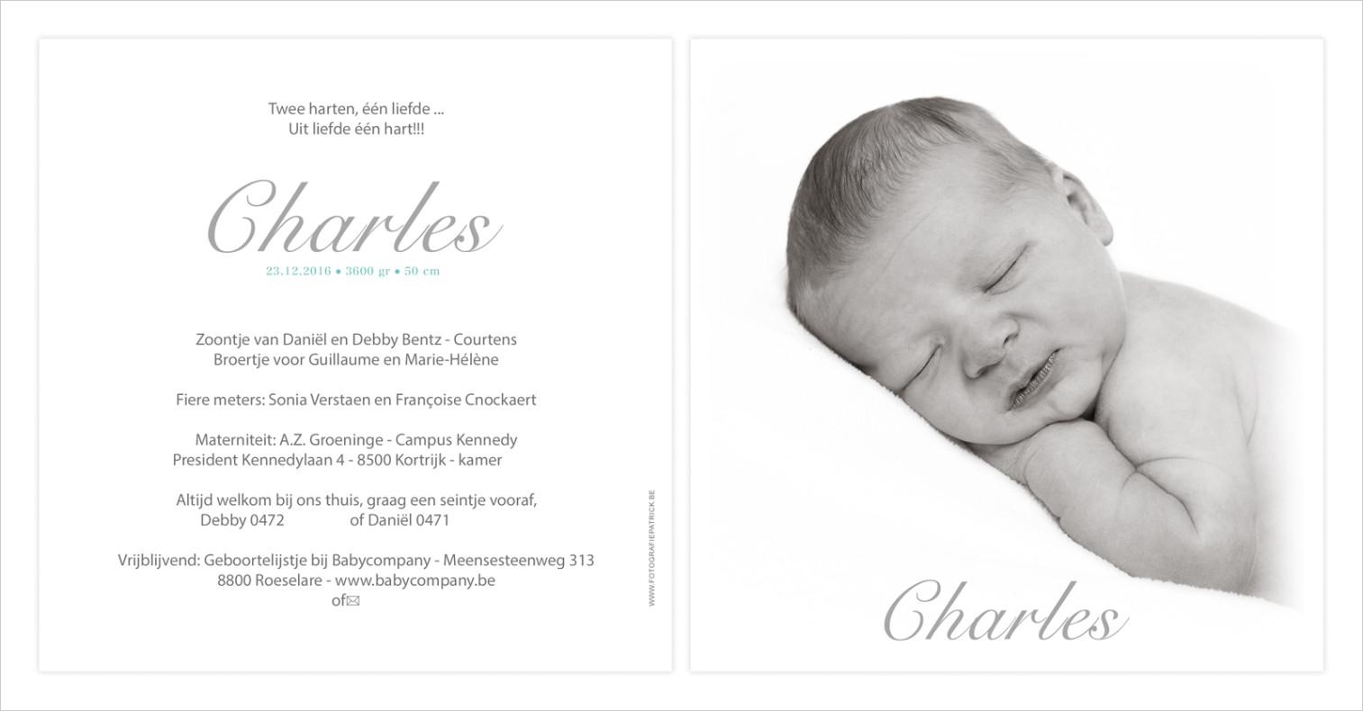 Geboortekaartje met foto van Charles