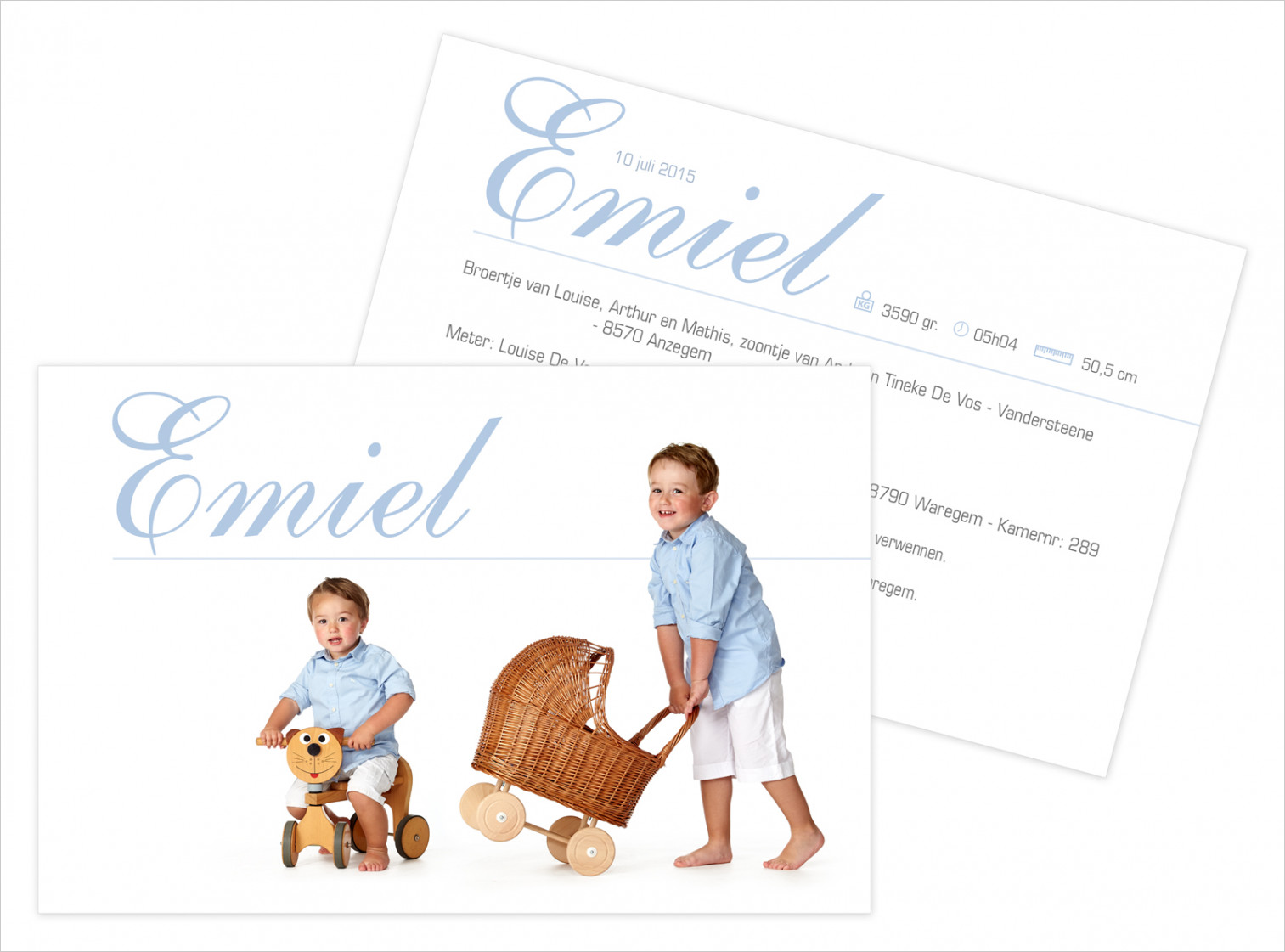 Geboortekaartje met foto van Emiel