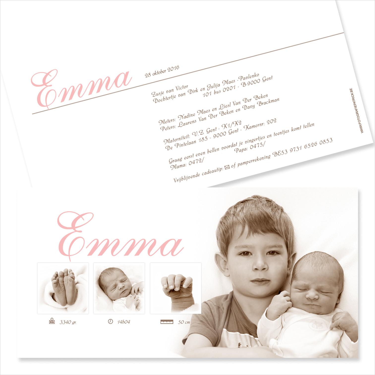 Geboortekaartje met foto van Emma