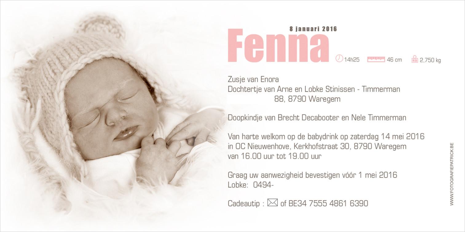 Geboortekaartje met foto van Fenna