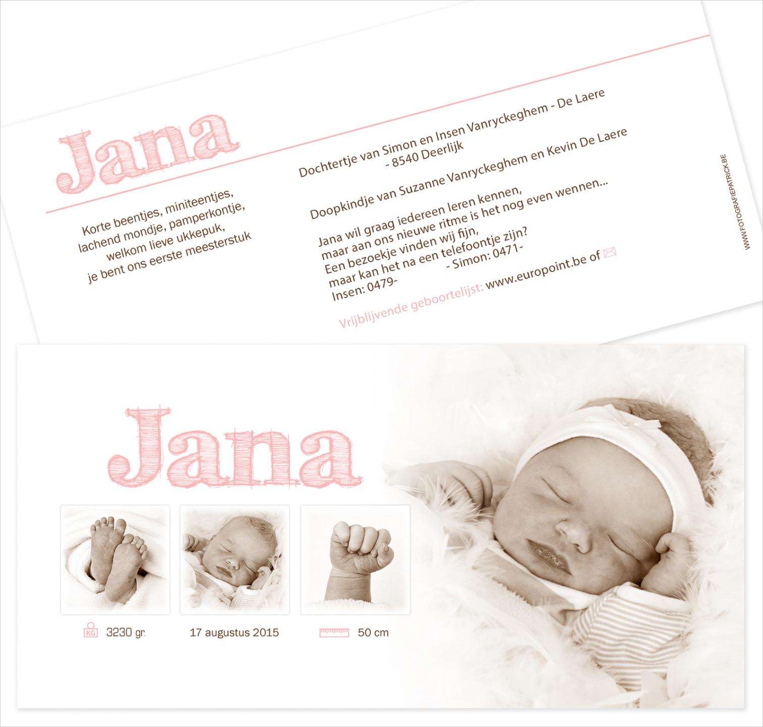 Geboortekaartje met foto vanJana