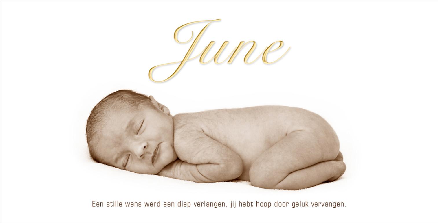 Geboortekaartje met foto van June