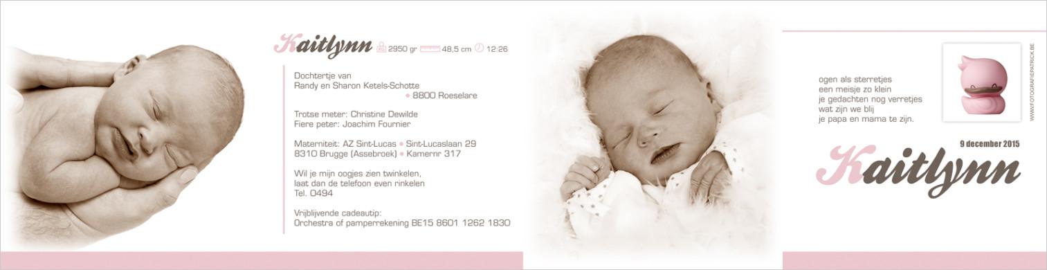 Geboortekaartje met foto van Kaitlynn
