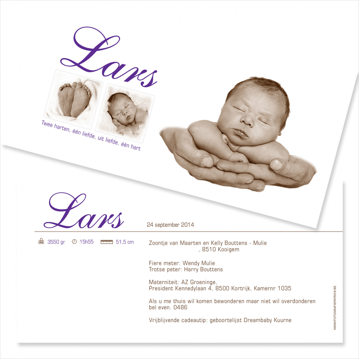 Geboortekaartje met foto van Lars