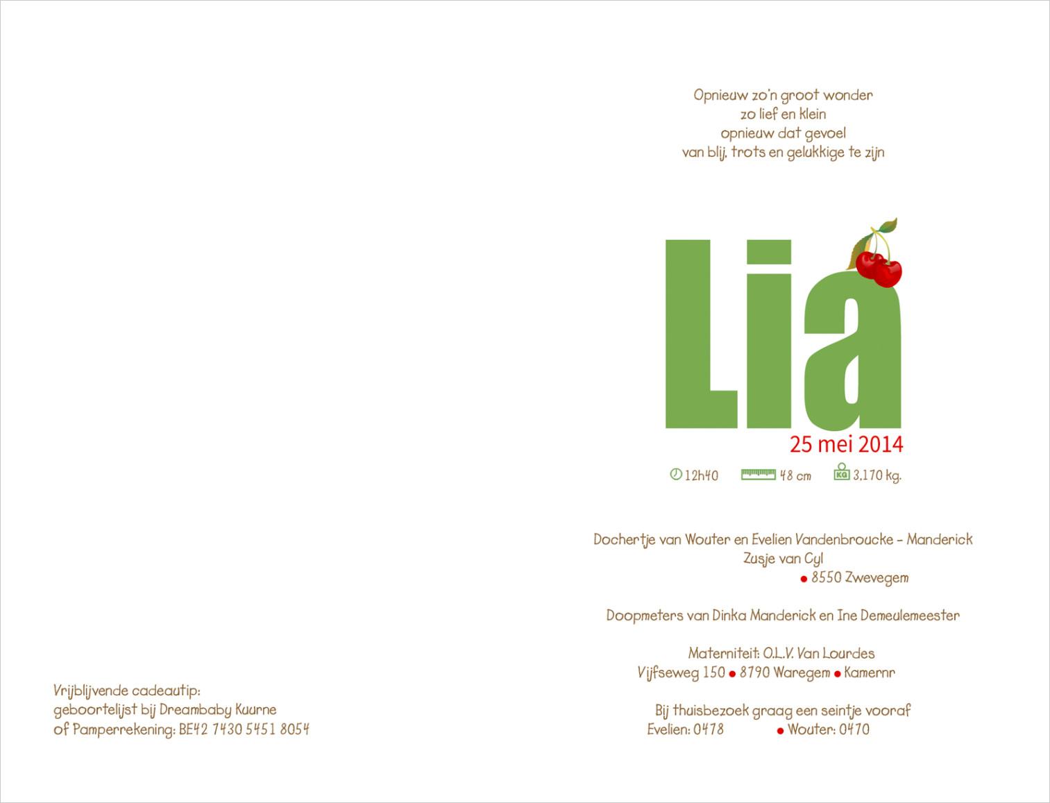 Geboortekaartje met foto van Lia