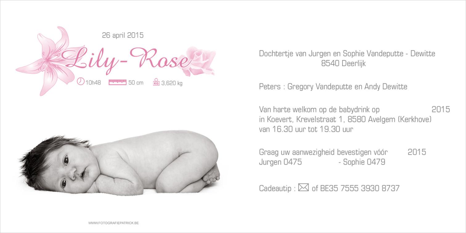 Geboortekaartje met foto van Lily-Rose