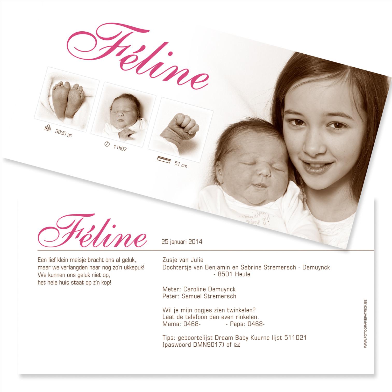 Geboortekaartje met foto van Line