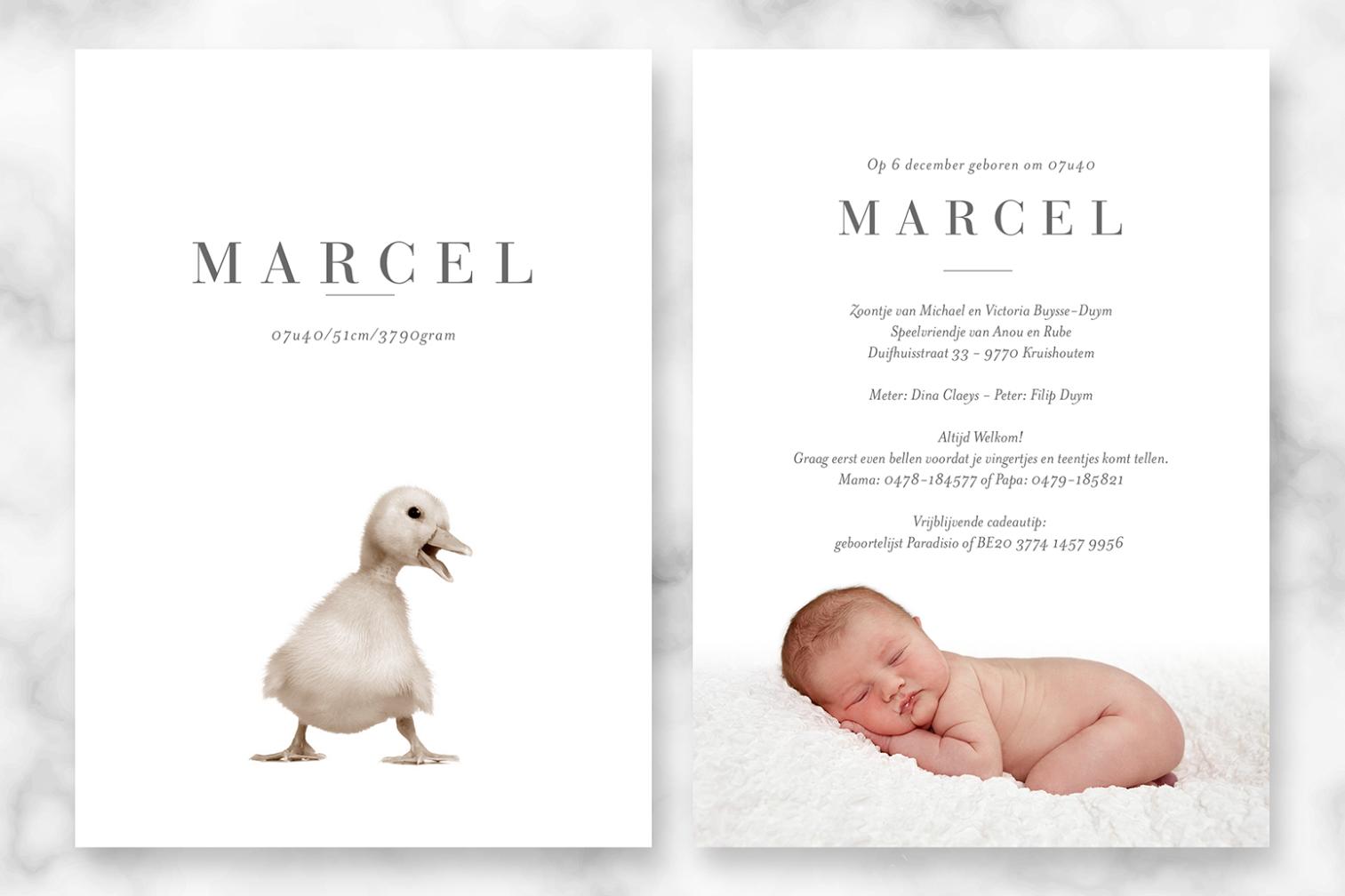 Geboortekaartje met foto van Marcel