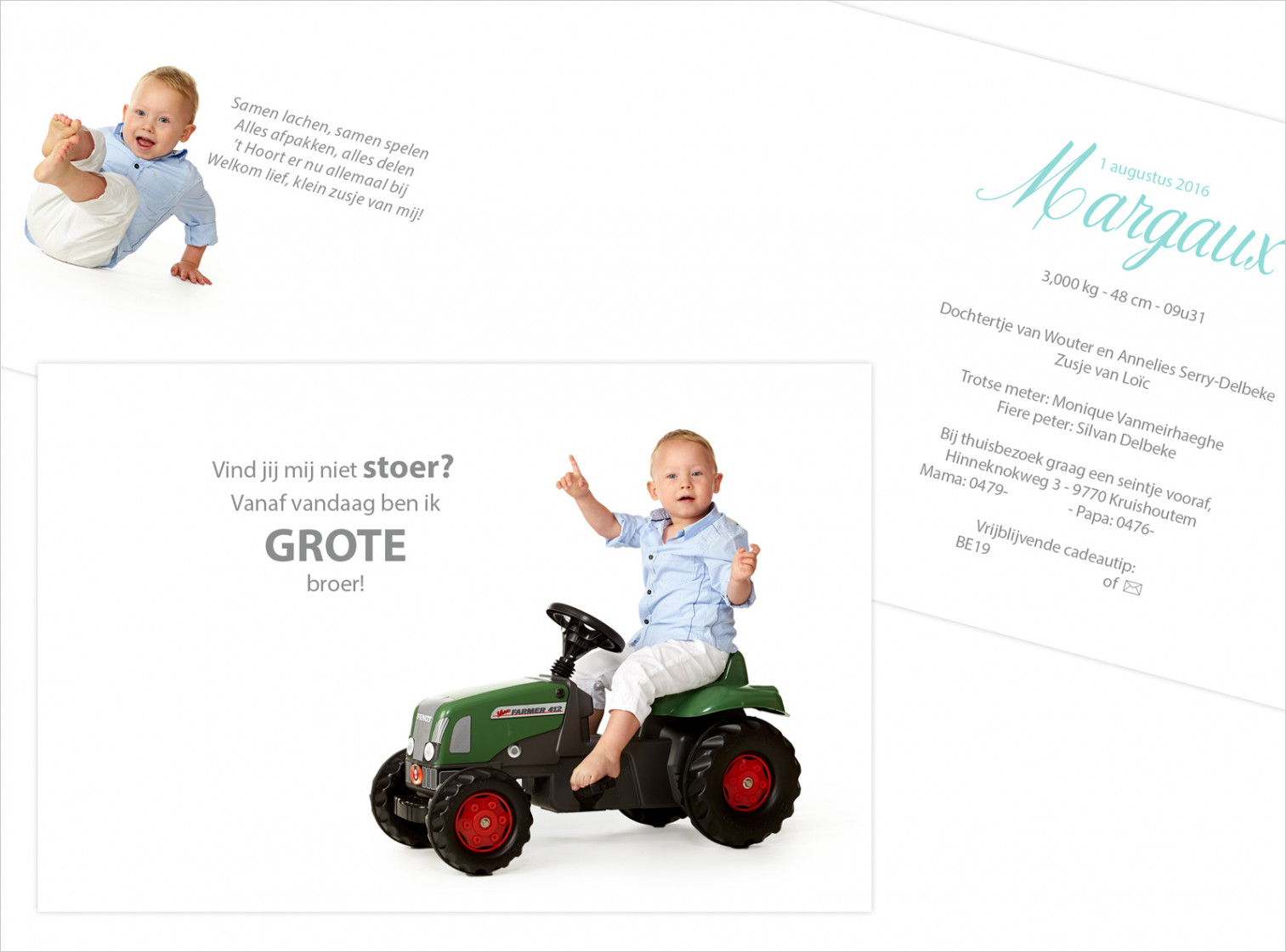 Geboortekaartje met foto van Margaux