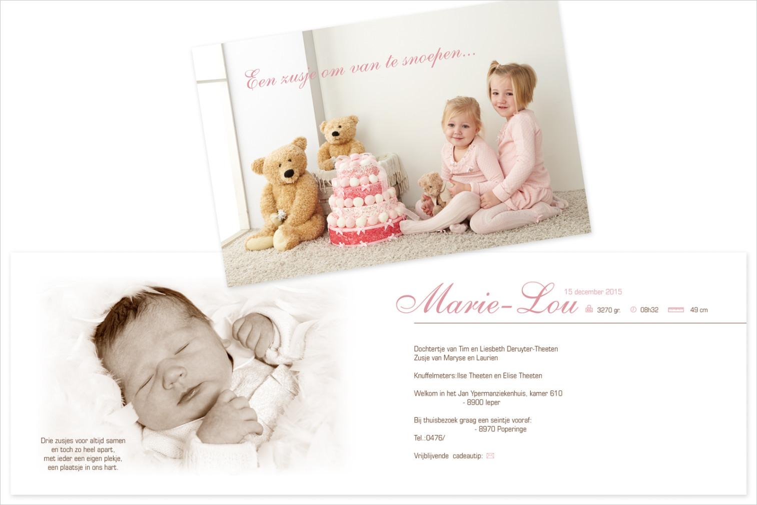 Geboortekaartje met foto van Marie-Lou