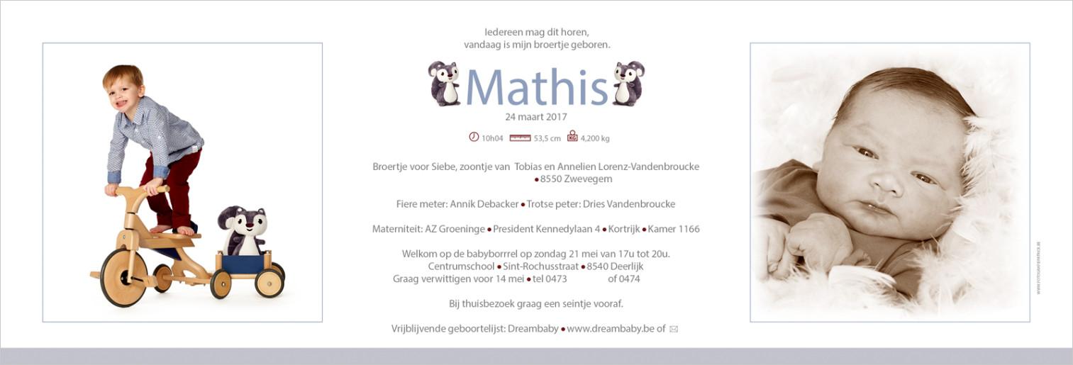 Geboortekaartje met foto van Mathis