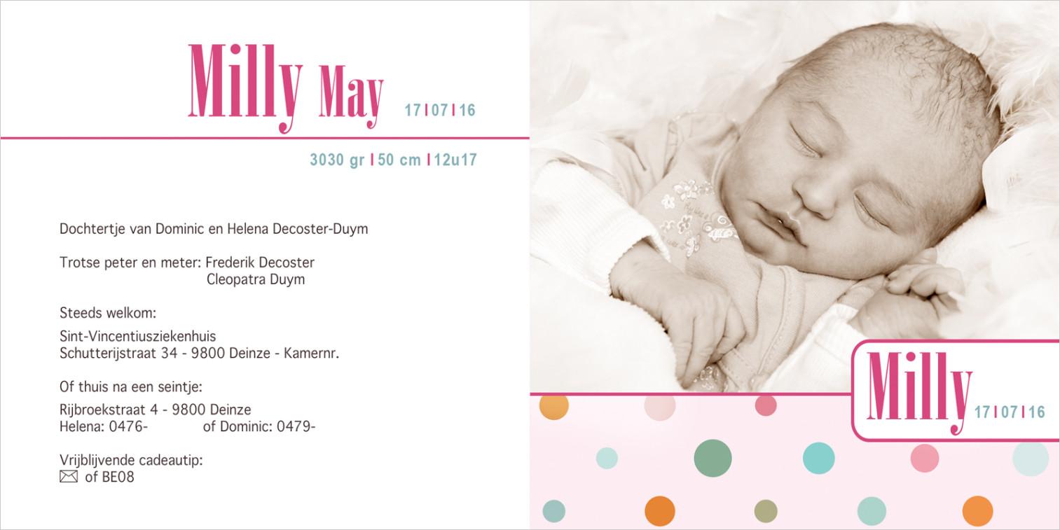 Geboortekaartje met foto van Milly