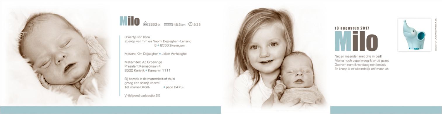 Geboortekaartje met foto van Milo