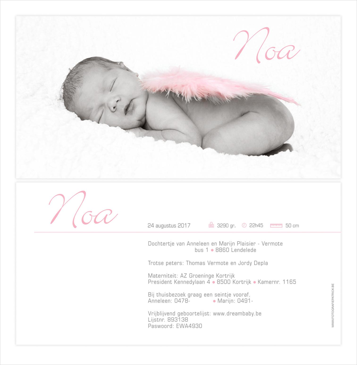 Geboortekaartje met foto van Noa