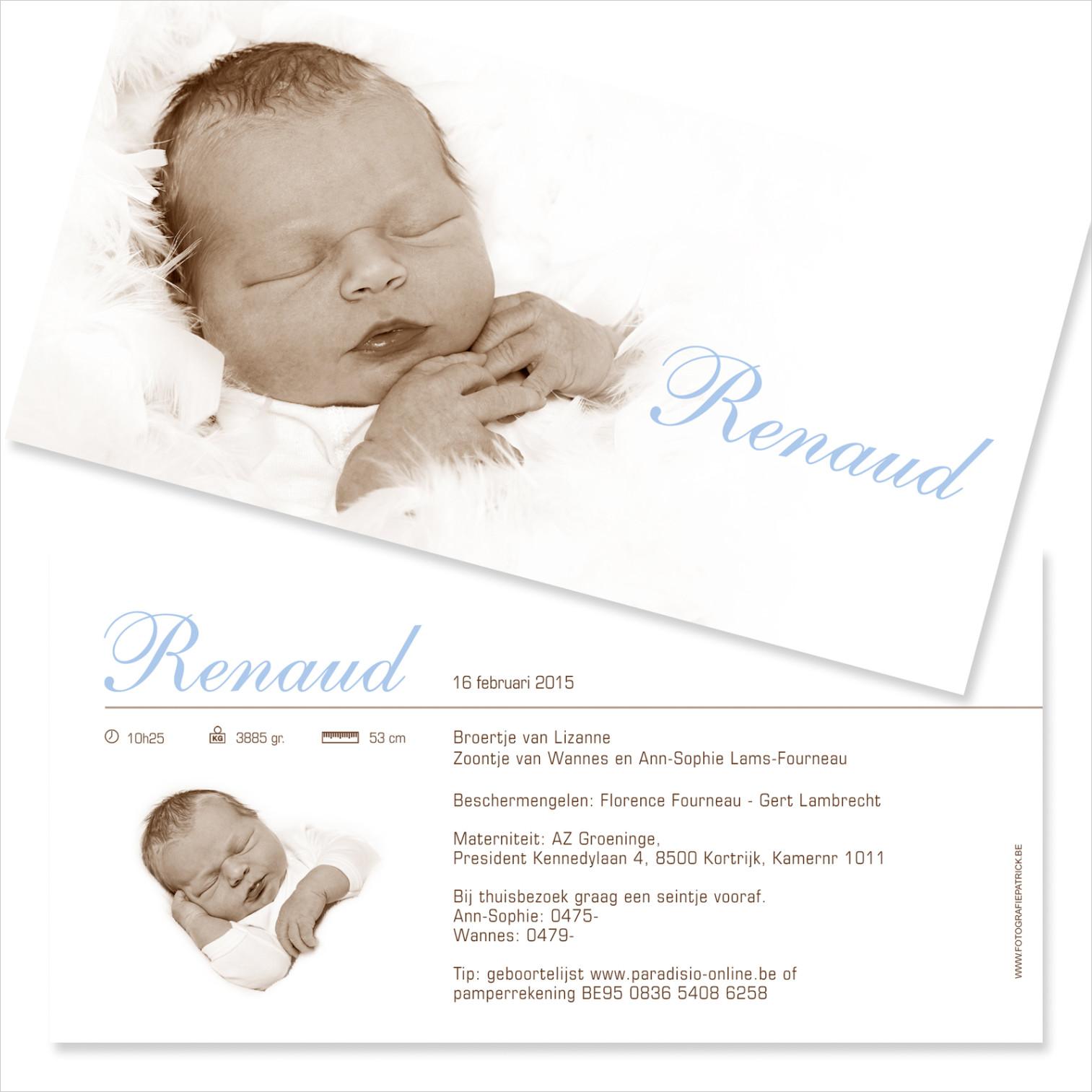 Geboortekaartje met foto van Renaud