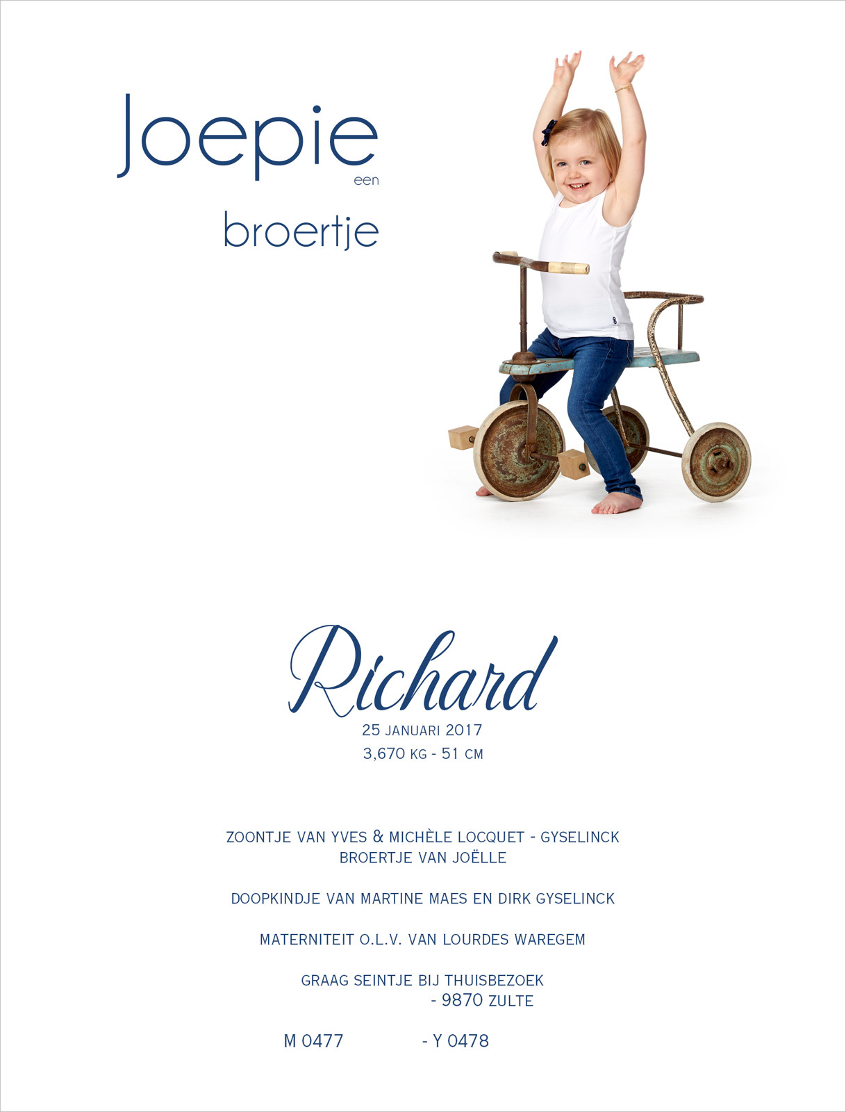 Geboortekaartje met foto van Richard